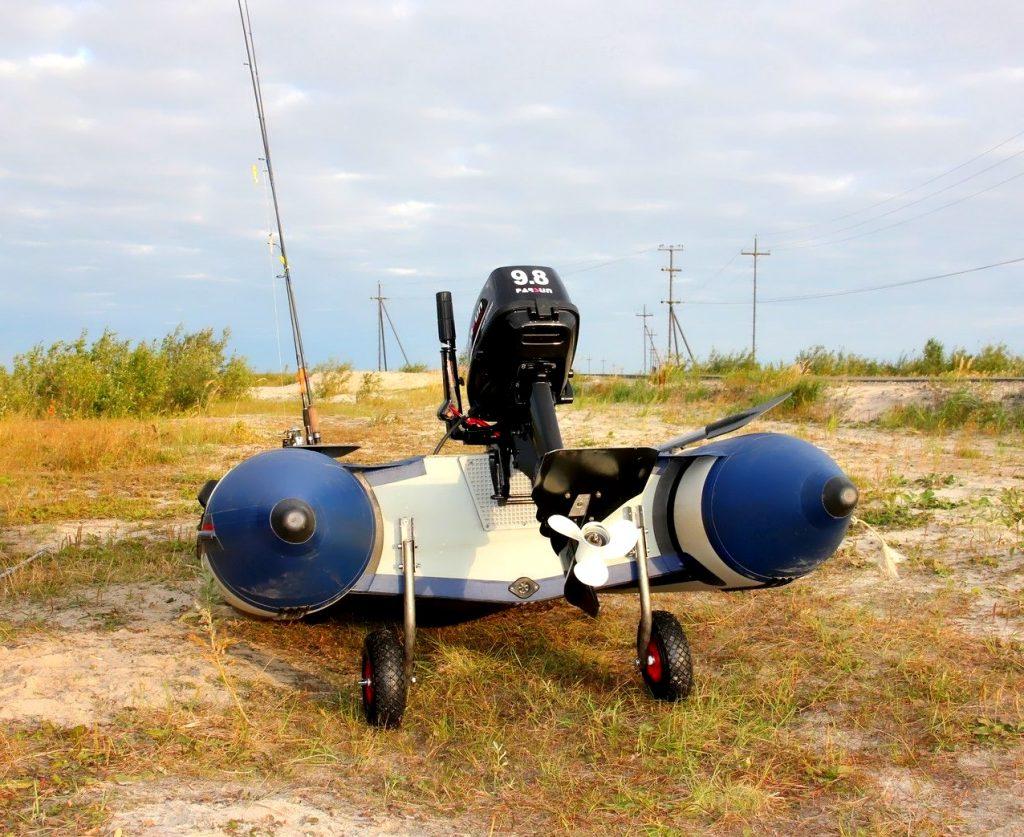 установка транцевых колес на лодку